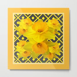 Golden Daffodils Grey Art Design Metal Print
