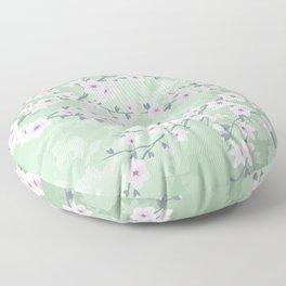 Pink Cherry Blossom Green Background Floor Pillow