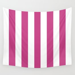 Smitten pink - solid color - white vertical lines pattern Wall Tapestry