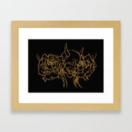 Hannya and Peonies Framed Art Print
