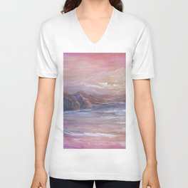 Landscape in Pink MM150601 Unisex V-Neck