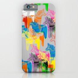 POP ART Dala horses - colorful Scandinavian Christmas pattern iPhone Case