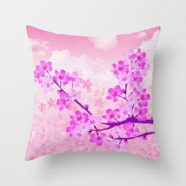 Cherry Blossom - Variation 4 Throw Pillow