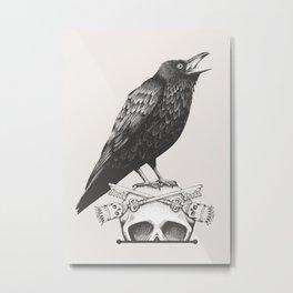 Black Crow & Skull Metal Print