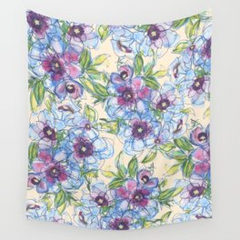Big Blue Poppies Wall Tapestry