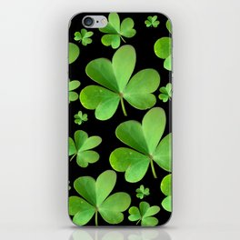 Clovers on Black iPhone Skin