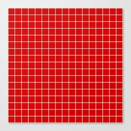 Rosso corsa - red color - White Lines Grid Pattern Canvas Print