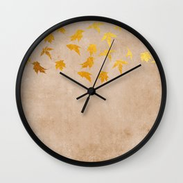Gold leaves on grunge background - Autumn Sparkle Glitter design #Society6 Wall Clock