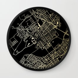 Wilkes-Barre Gold and Black Map Wall Clock