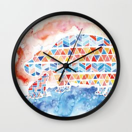 Quilted Pattern Mama and Baby Hippo Watercolor Wall Clock