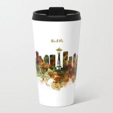 Seattle Watercolor Skyline Poster Metal Travel Mug