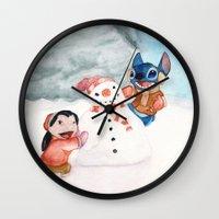 lilo and stitch Wall Clocks featuring Lilo and Stitch by Walko
