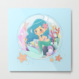 Cute Mermaid pink and blue Metal Print