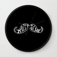 mustache Wall Clocks featuring Mustache by Crooked Stick