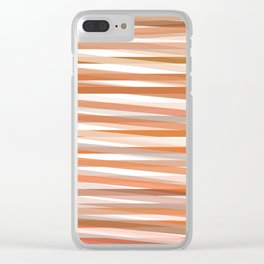 Fall Orange brown Neutral stripes Minimalist Clear iPhone Case