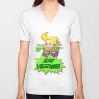 vegetables V-neck T-shirts featuring Eat Vegetables !  by Lola Chocolat