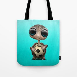 Cute Baby Turtle With Football Soccer Ball Tote Bag