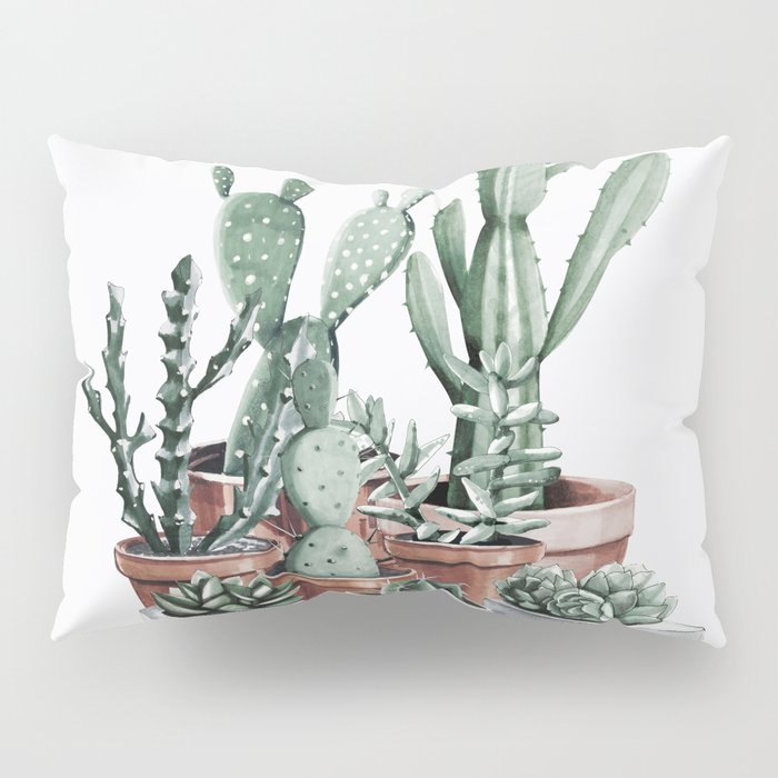 Potted Cacti + Succulents Rose Gold Pillow Sham