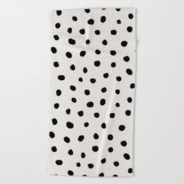 Modern Polka Dots Black on Light Gray Beach Towel