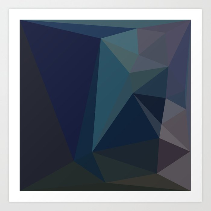 Dark Blue Geometric Abstract Art By Fluid Nature Art Print By Fluidnature
