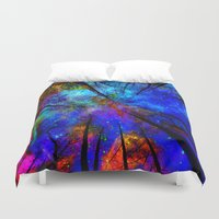 decal Duvet Covers featuring Colorful forest by haroulita