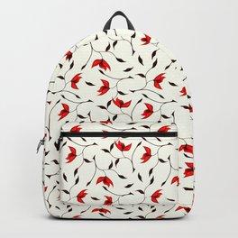 Strange Red Flowers Pattern Backpack