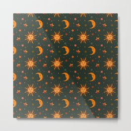Folk Moon and Star Print in Teal Metal Print