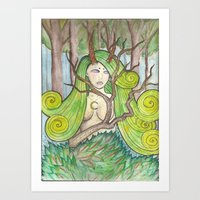 Lady of the Woods Art Print