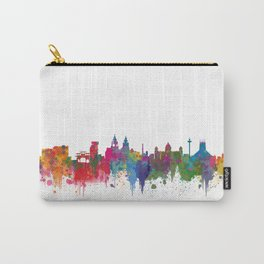Liverpool seafront city line skyline waterfront watercolour colours colour splash by Evangelos Carry-All Pouch