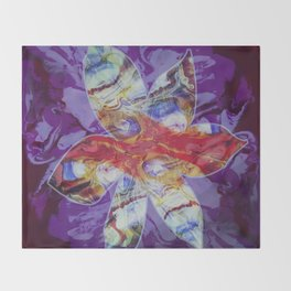 Bright Abstract Flower; Purple, Lavender and Maroon Background; Fluid Abstract 55 Throw Blanket