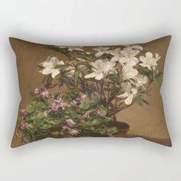 Henri Fantin Latour - Violetas Y Azaleas Rectangular Pillow