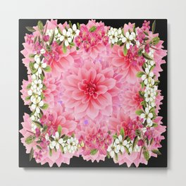 ORNATE PINK FLOWER COLLAGE WITH BLACK Metal Print