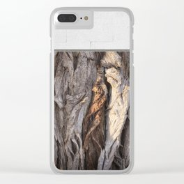 Abstract Human Figures in Gnarled Wood and White Cinder Block Clear iPhone Case