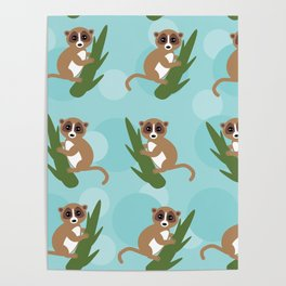 pattern - lemur on green branch on blue background Poster