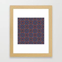 Bright Blue and Orange Beadwork Inspired Pattern Framed Art Print