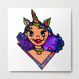 Galactic Unicorn Girl Metal Print