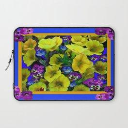 Blue  Purple Pansies Yellow Petunias Blue Pattern Art Laptop Sleeve