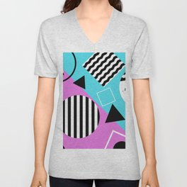 Stripes And Splats 1 - Wacky, Random, Abstract, Black And White Stripes, Blue and pink Artwork Unisex V-Neck