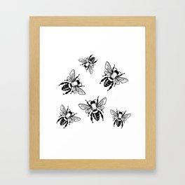 Bees Black Pattern Honeybees Insect Bugs Framed Art Print