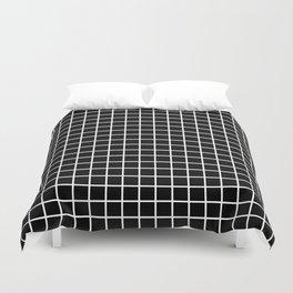 fine white  grid on black background - black and white pattern Duvet Cover