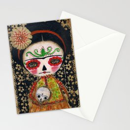 Frida The Catrina And The Skull - Dia De Los Muertos Mixed Media Art Stationery Cards