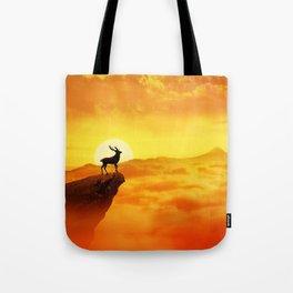 lonely sunset deer Tote Bag