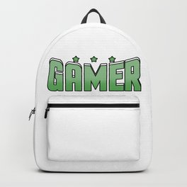 Video Game Gamer cool font green saying star gift online Backpack