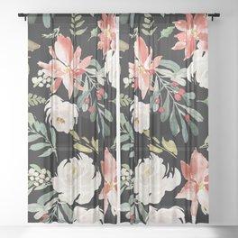 Christmas Poinsettias & White Roses Pattern Sheer Curtain