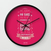 jane eyre Wall Clocks featuring Jane Eyre by Nikita Gill