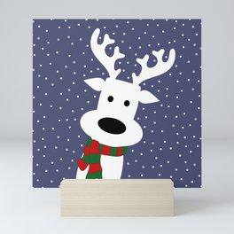 Reindeer in a snowy day (blue) Mini Art Print
