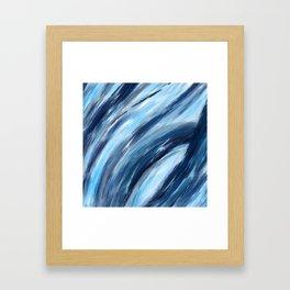 Blue Abstract Brushstrokes Framed Art Print