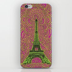 Eiffel Tower Drawing Meditation - Green/Pink/Yellow iPhone & iPod Skin