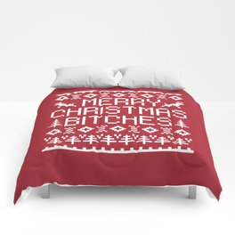 Merry Christmas Bitches Funny Xmas Quote Comforters
