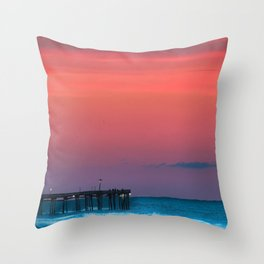 Sunset by the Avalon Pier Throw Pillow